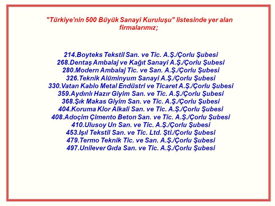 Türkiye nin 500 Büyük Sanayi Kuruluşu listesinde yer alan firmalarımız; 214.Boyteks Tekstil San.