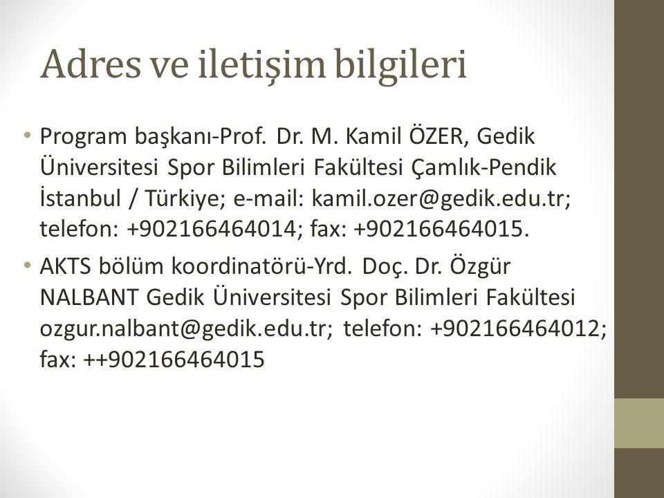 Adres ve iletişim bilgileri Program başkanı-Prof. Dr.