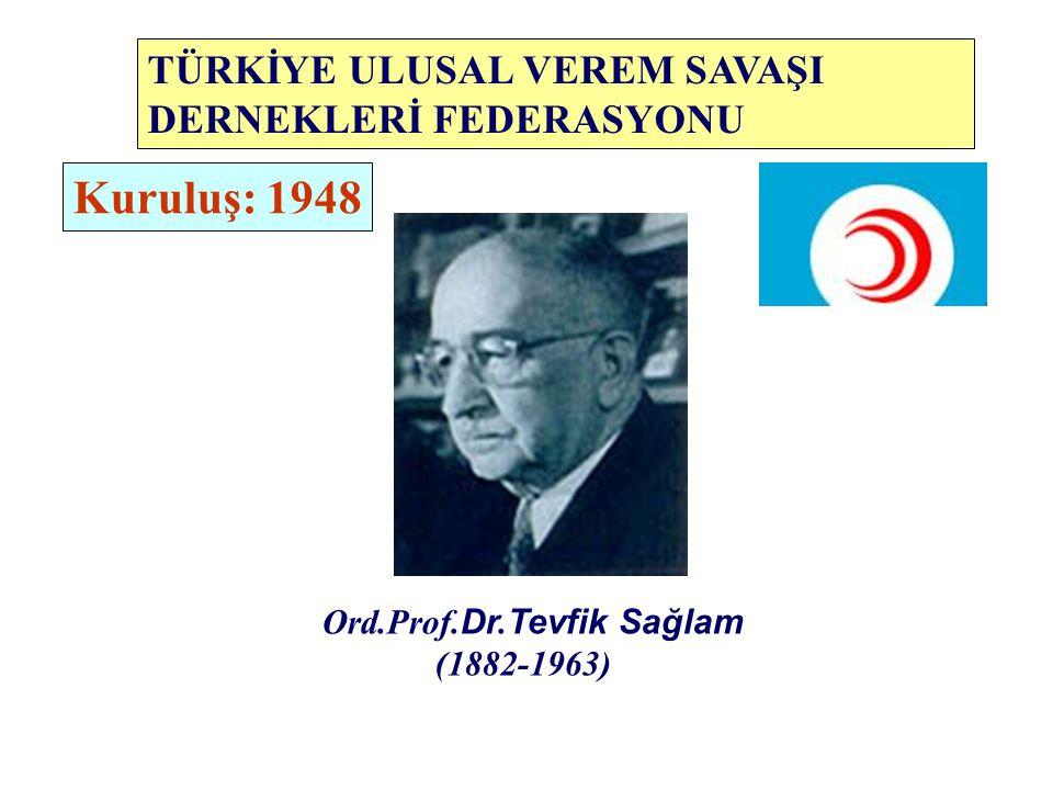Ord.Prof. Dr. Tevfik Sağlam (1882-1963) Kuruluş: 1948 TÜRKİYE ULUSAL VEREM SAVAŞI DERNEKLERİ FEDERASYONU