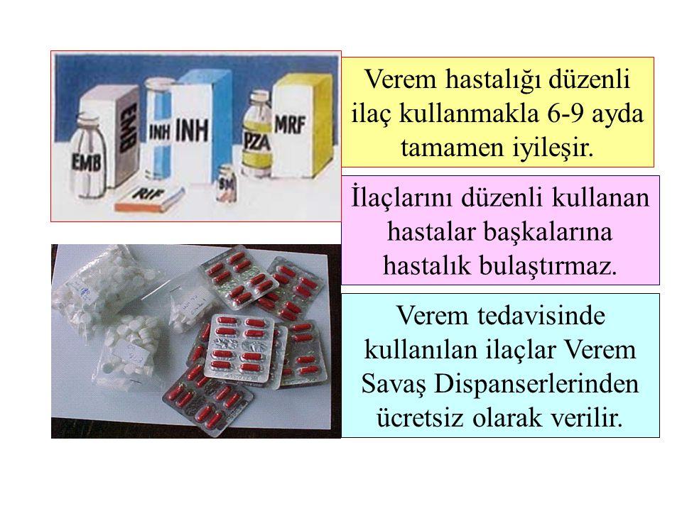 İlaçlarını düzenli kullanan hastalar başkalarına hastalık bulaştırmaz. Verem tedavisinde kullanılan ilaçlar Verem Savaş Dispanserlerinden ücretsiz ola