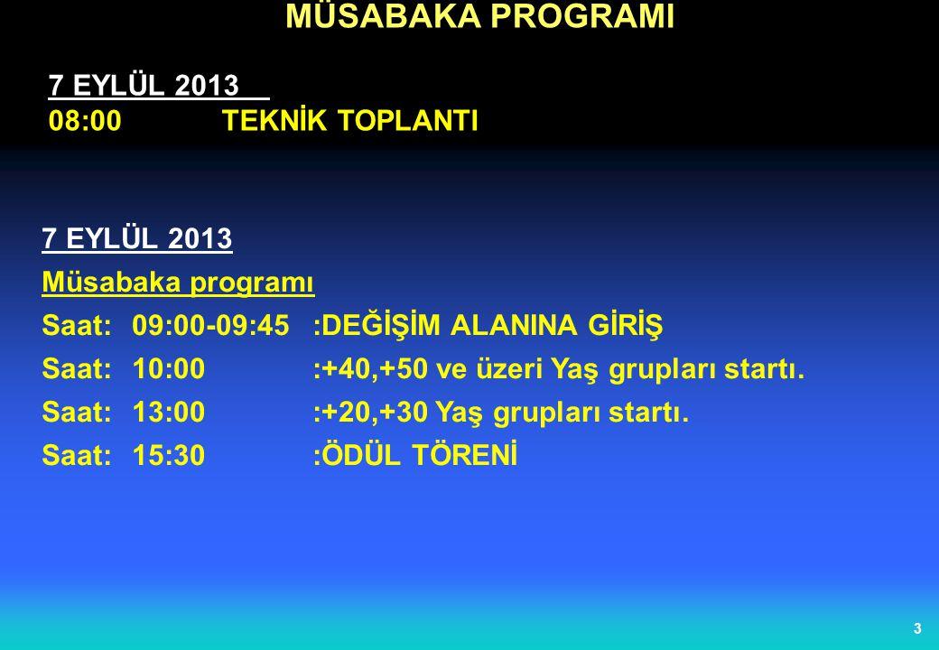 3 MÜSABAKA PROGRAMI 7 EYLÜL 2013 08:00TEKNİK TOPLANTI 7 EYLÜL 2013 Müsabaka programı Saat:09:00-09:45 :DEĞİŞİM ALANINA GİRİŞ Saat:10:00:+40,+50 ve üzeri Yaş grupları startı.