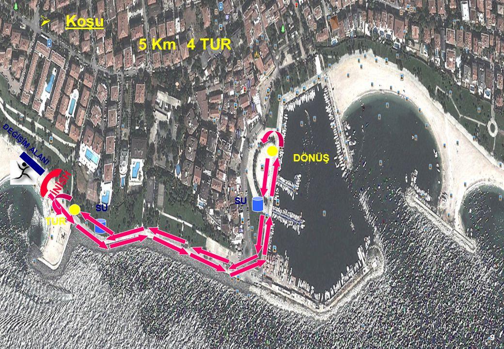 9 FİNİSH DÖNÜŞ SU  Koşu 5 Km 4 TUR DEĞİŞİM ALANI TUR SU