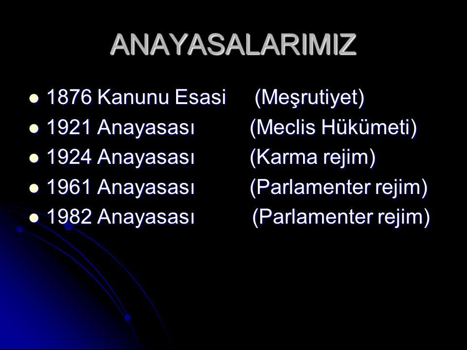 ANAYASALARIMIZ 1876 Kanunu Esasi (Meşrutiyet) 1876 Kanunu Esasi (Meşrutiyet) 1921 Anayasası (Meclis Hükümeti) 1921 Anayasası (Meclis Hükümeti) 1924 Anayasası (Karma rejim) 1924 Anayasası (Karma rejim) 1961 Anayasası (Parlamenter rejim) 1961 Anayasası (Parlamenter rejim) 1982 Anayasası (Parlamenter rejim) 1982 Anayasası (Parlamenter rejim)