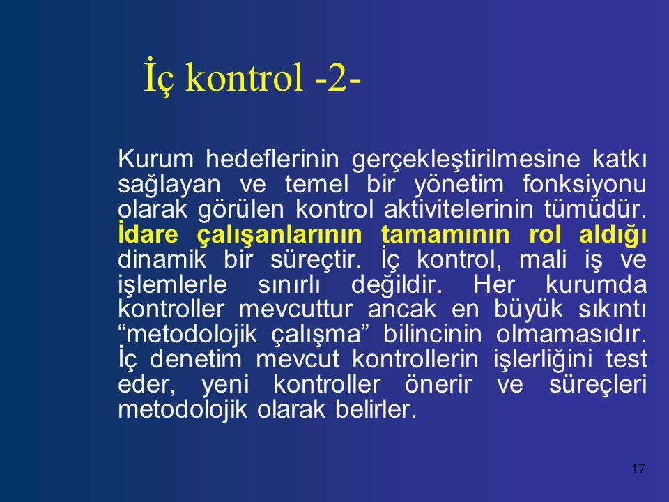 17 İç kontrol -2- Kurum hedeflerinin gerçekleştirilmesine katkı sağlayan ve temel bir yönetim fonksiyonu olarak görülen kontrol aktivitelerinin tümüdür.