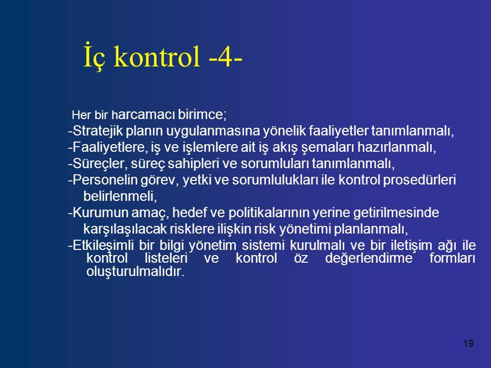 19 İç kontrol -4- Her bir h arcamacı birimce; -Stratejik planın uygulanmasına yönelik faaliyetler tanımlanmalı, -Faaliyetlere, iş ve işlemlere ait iş akış şemaları hazırlanmalı, -Süreçler, süreç sahipleri ve sorumluları tanımlanmalı, -Personelin görev, yetki ve sorumlulukları ile kontrol prosedürleri belirlenmeli, -Kurumun amaç, hedef ve politikalarının yerine getirilmesinde karşılaşılacak risklere ilişkin risk yönetimi planlanmalı, -Etkileşimli bir bilgi yönetim sistemi kurulmalı ve bir iletişim ağı ile kontrol listeleri ve kontrol öz değerlendirme formları oluşturulmalıdır.