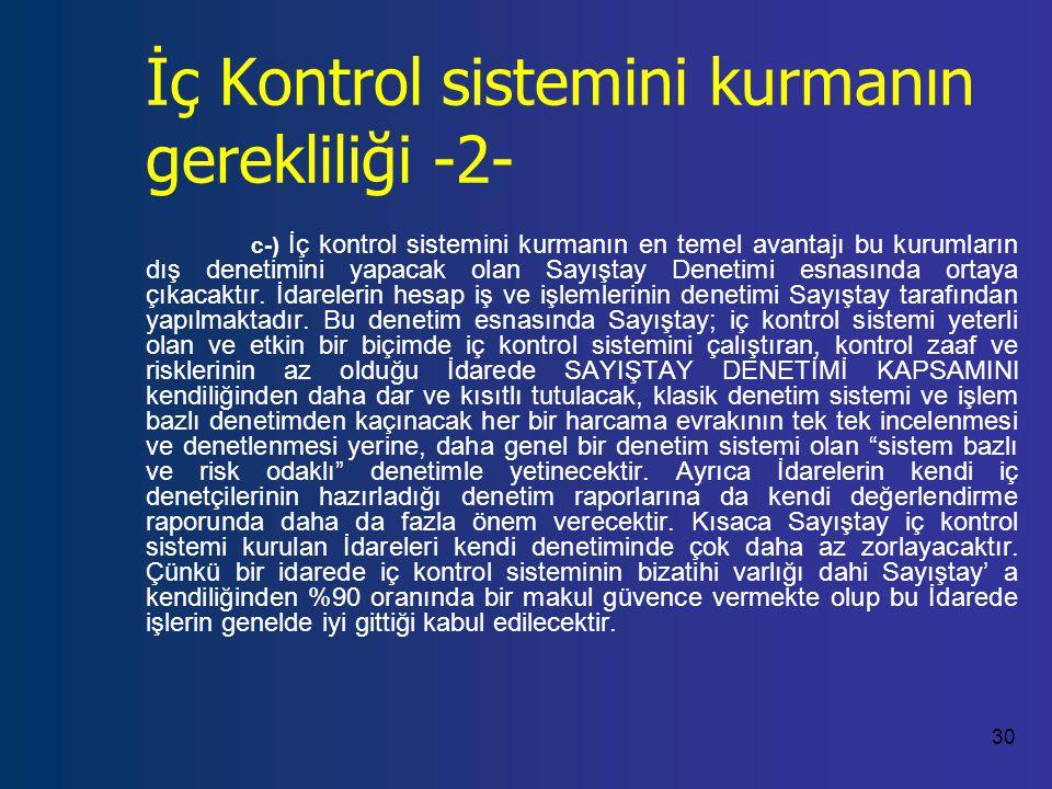 30 İç Kontrol sistemini kurmanın gerekliliği -2- c-) İç kontrol sistemini kurmanın en temel avantajı bu kurumların dış denetimini yapacak olan Sayıştay Denetimi esnasında ortaya çıkacaktır.