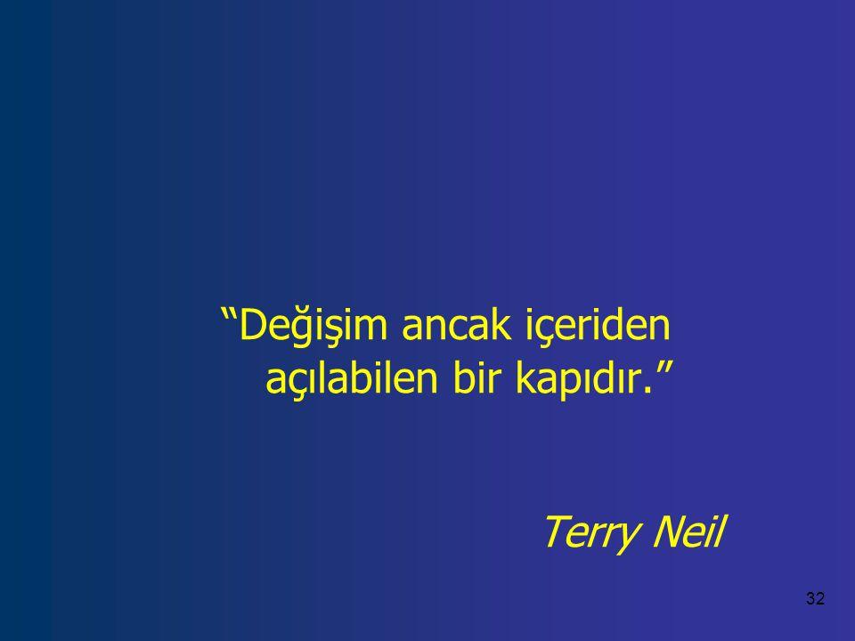 32 Değişim ancak içeriden açılabilen bir kapıdır. Terry Neil