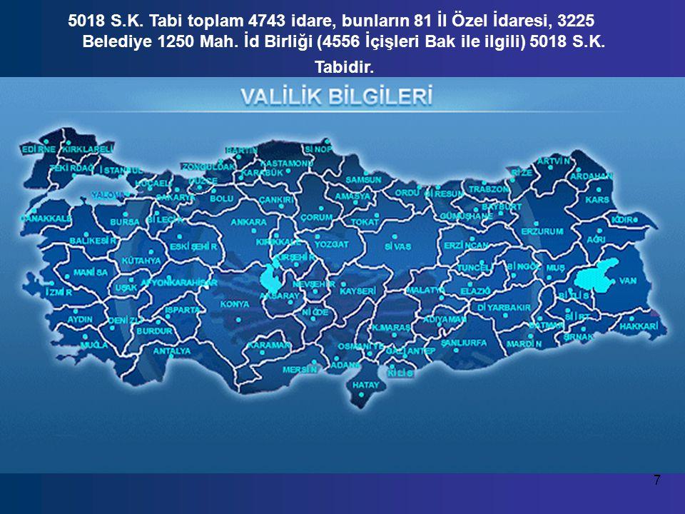 7 5018 S.K.Tabi toplam 4743 idare, bunların 81 İl Özel İdaresi, 3225 Belediye 1250 Mah.