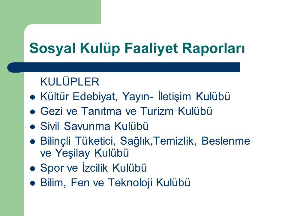 Sosyal Kulüp Faaliyet Raporları KULÜPLER Kültür Edebiyat, Yayın- İletişim Kulübü Gezi ve Tanıtma ve Turizm Kulübü Sivil Savunma Kulübü Bilinçli Tüketi