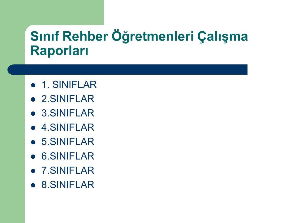 Sınıf Rehber Öğretmenleri Çalışma Raporları 1. SINIFLAR 2.SINIFLAR 3.SINIFLAR 4.SINIFLAR 5.SINIFLAR 6.SINIFLAR 7.SINIFLAR 8.SINIFLAR