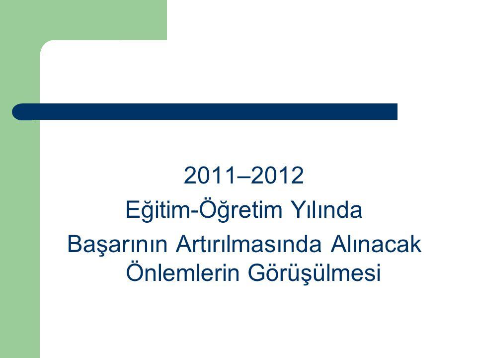 2011–2012 Eğitim-Öğretim Yılında Başarının Artırılmasında Alınacak Önlemlerin Görüşülmesi