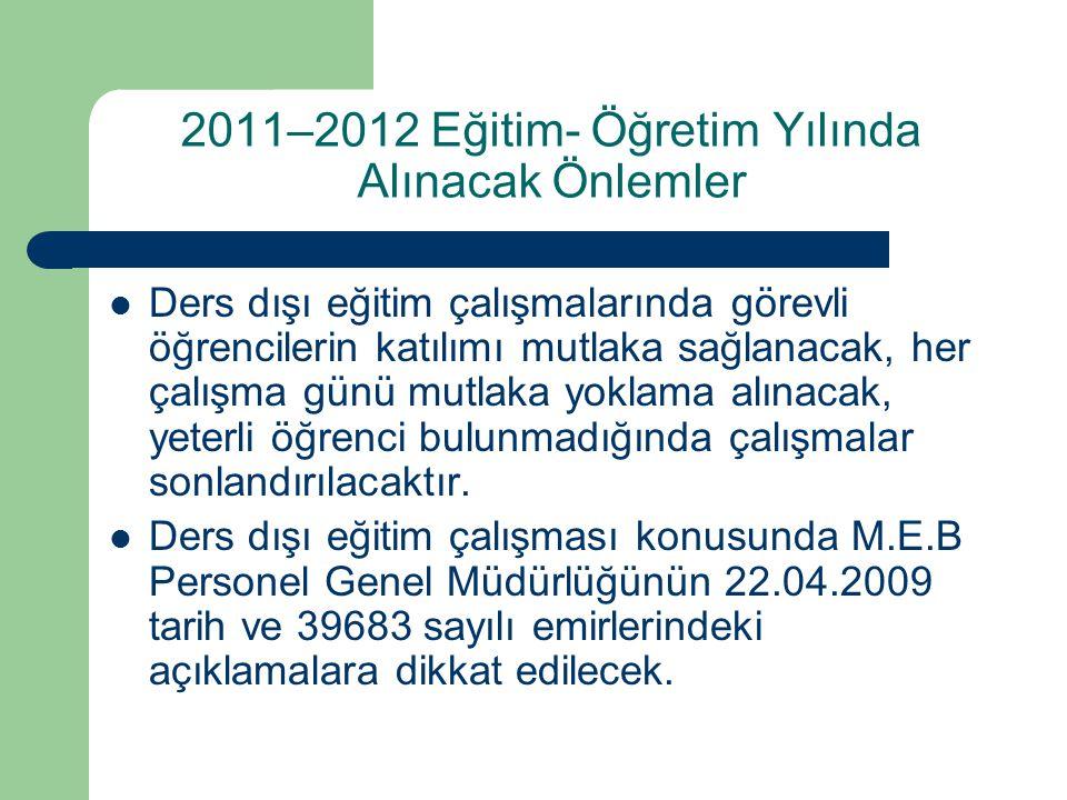 2011–2012 Eğitim- Öğretim Yılında Alınacak Önlemler Ders dışı eğitim çalışmalarında görevli öğrencilerin katılımı mutlaka sağlanacak, her çalışma günü
