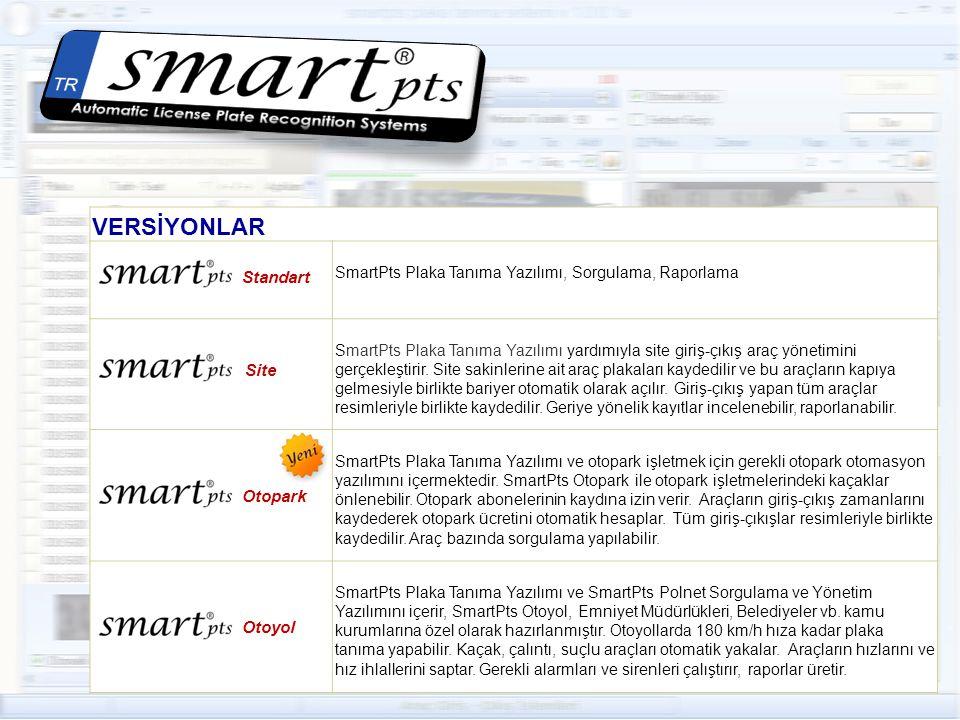 VERSİYONLAR Standart SmartPts Plaka Tanıma Yazılımı, Sorgulama, Raporlama Site SmartPts Plaka Tanıma Yazılımı yardımıyla site giriş-çıkış araç yönetimini gerçekleştirir.