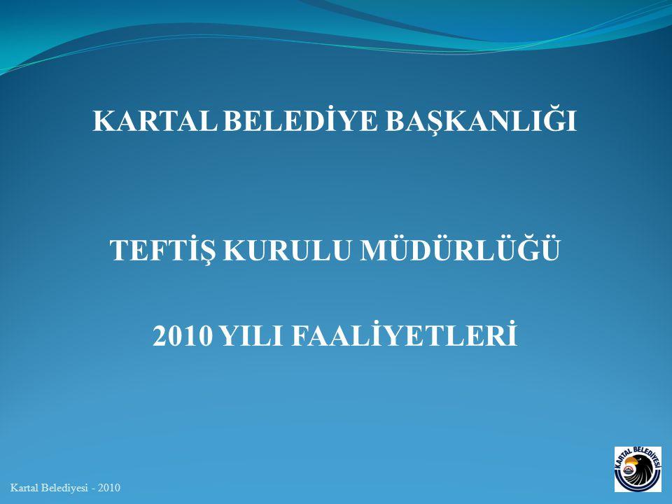 KARTAL BELEDİYE BAŞKANLIĞI TEFTİŞ KURULU MÜDÜRLÜĞÜ 2010 YILI FAALİYETLERİ Kartal Belediyesi - 2010