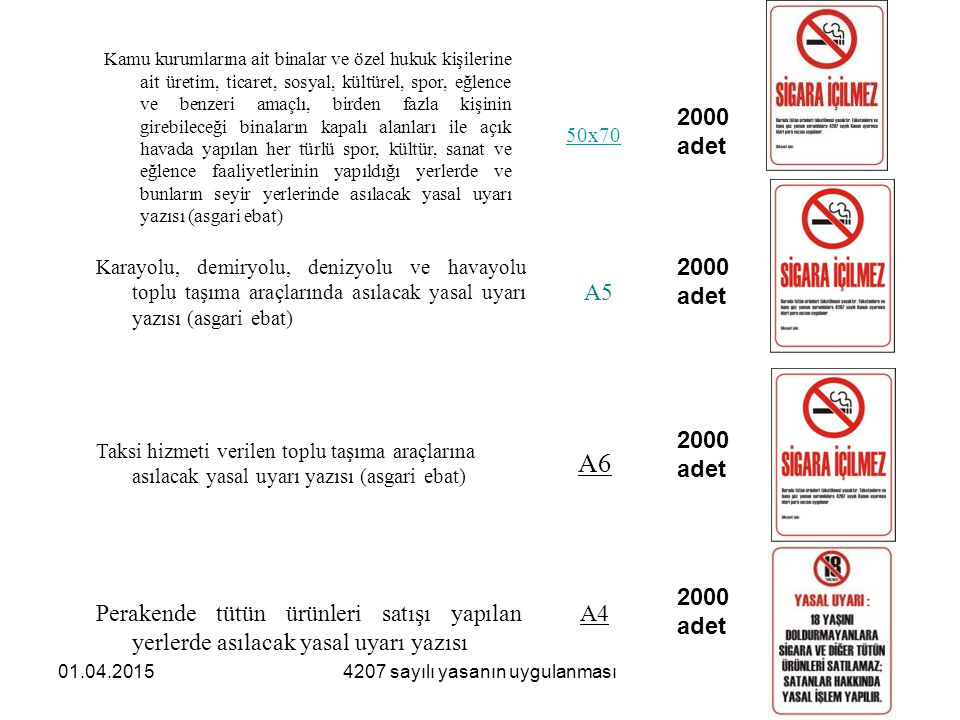 01.04.20154207 sayılı yasanın uygulanması Bu Kararda usul ve esasları belirlenen yasal uyarı yazıları ve sağlık uyarıları örnekleri, aşağıdaki linkler