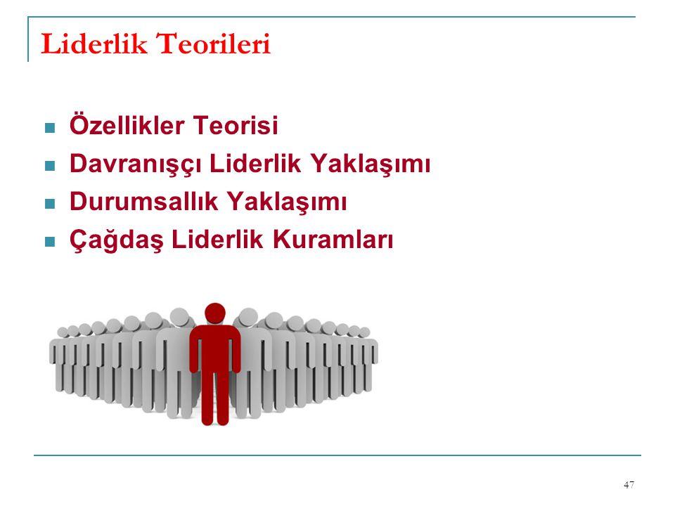 Liderlik Teorileri 47 Özellikler Teorisi Davranışçı Liderlik Yaklaşımı Durumsallık Yaklaşımı Çağdaş Liderlik Kuramları