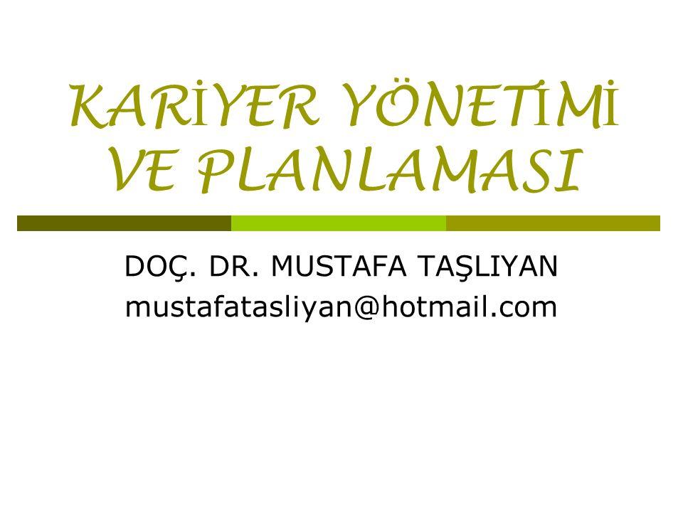 KAR İ YER YÖNET İ M İ VE PLANLAMASI DOÇ. DR. MUSTAFA TAŞLIYAN mustafatasliyan@hotmail.com