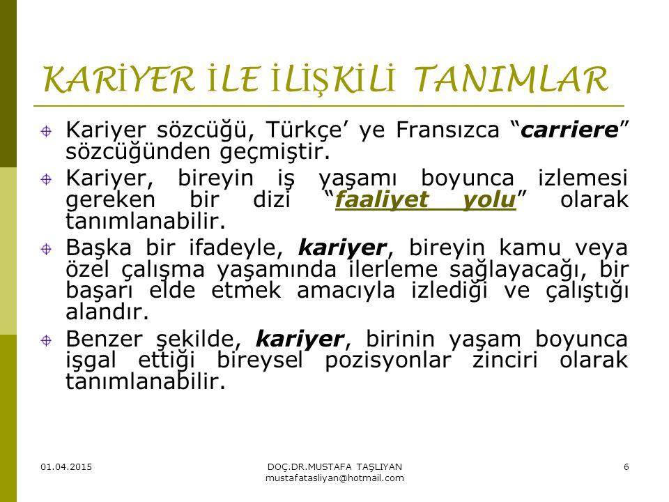 01.04.2015DOÇ.DR.MUSTAFA TAŞLIYAN mustafatasliyan@hotmail.com 6 KAR İ YER İ LE İ L İŞ K İ L İ TANIMLAR Kariyer sözcüğü, Türkçe' ye Fransızca carriere sözcüğünden geçmiştir.