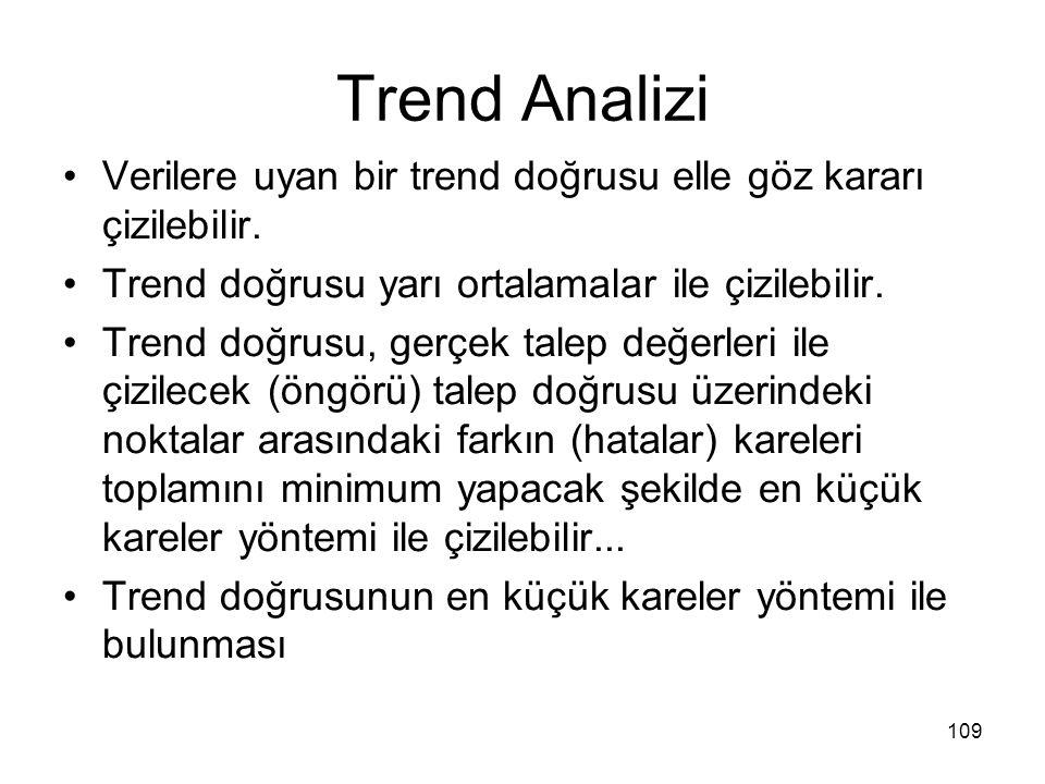 Trend Analizi Verilere uyan bir trend doğrusu elle göz kararı çizilebilir. Trend doğrusu yarı ortalamalar ile çizilebilir. Trend doğrusu, gerçek talep