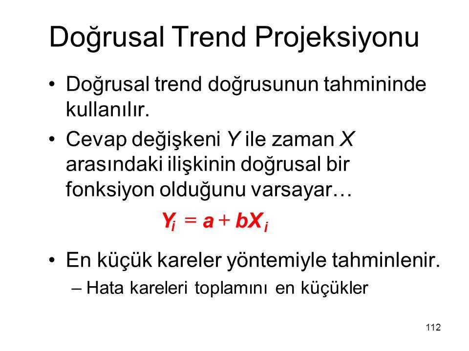 Doğrusal trend doğrusunun tahmininde kullanılır. Cevap değişkeni Y ile zaman X arasındaki ilişkinin doğrusal bir fonksiyon olduğunu varsayar… En küçük