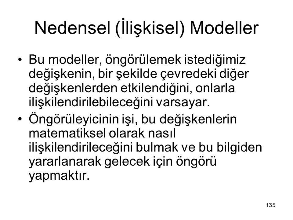 Nedensel (İlişkisel) Modeller Bu modeller, öngörülemek istediğimiz değişkenin, bir şekilde çevredeki diğer değişkenlerden etkilendiğini, onlarla ilişk