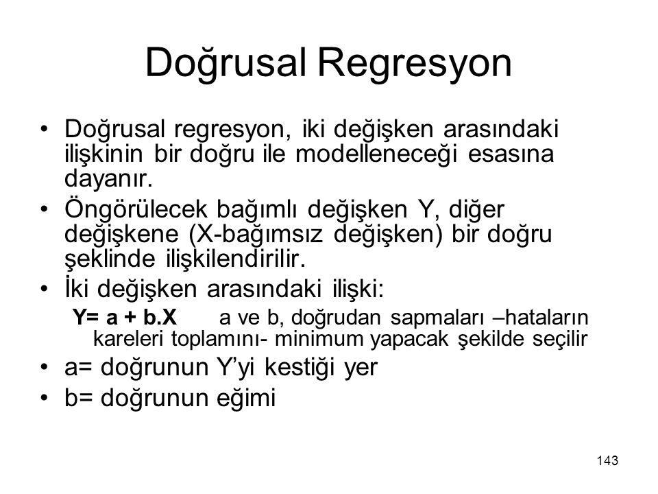 Doğrusal Regresyon Doğrusal regresyon, iki değişken arasındaki ilişkinin bir doğru ile modelleneceği esasına dayanır. Öngörülecek bağımlı değişken Y,