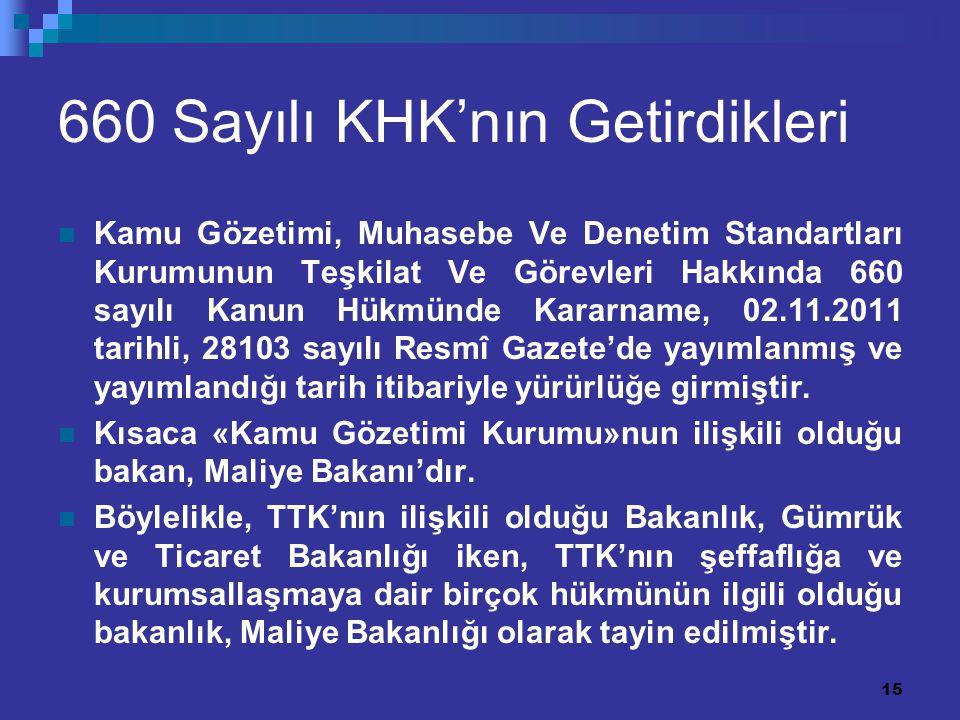 15 660 Sayılı KHK'nın Getirdikleri Kamu Gözetimi, Muhasebe Ve Denetim Standartları Kurumunun Teşkilat Ve Görevleri Hakkında 660 sayılı Kanun Hükmünde