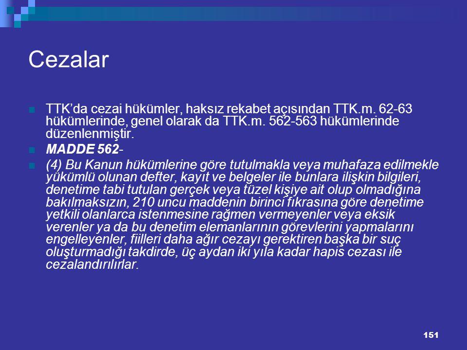 151 Cezalar TTK'da cezai hükümler, haksız rekabet açısından TTK.m. 62-63 hükümlerinde, genel olarak da TTK.m. 562-563 hükümlerinde düzenlenmiştir. MAD
