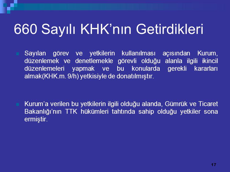 17 660 Sayılı KHK'nın Getirdikleri Sayılan görev ve yetkilerin kullanılması açısından Kurum, düzenlemek ve denetlemekle görevli olduğu alanla ilgili i