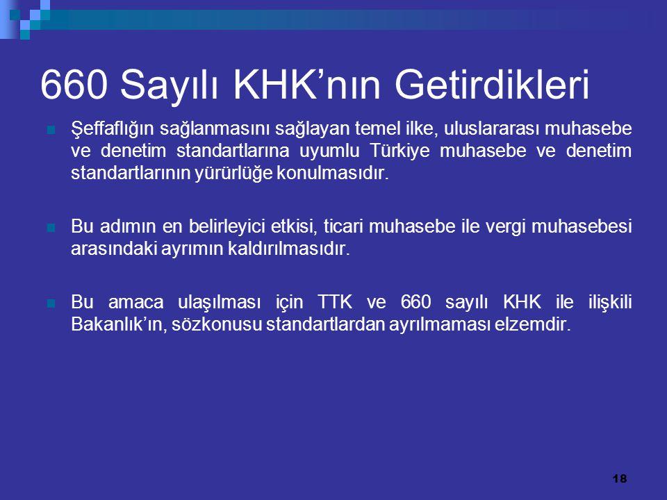 18 660 Sayılı KHK'nın Getirdikleri Şeffaflığın sağlanmasını sağlayan temel ilke, uluslararası muhasebe ve denetim standartlarına uyumlu Türkiye muhase
