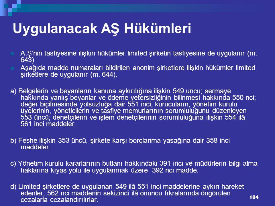 184 Uygulanacak AŞ Hükümleri A.Ş'nin tasfiyesine ilişkin hükümler limited şirketin tasfiyesine de uygulanır (m. 643) Aşağıda madde numaraları bildiril