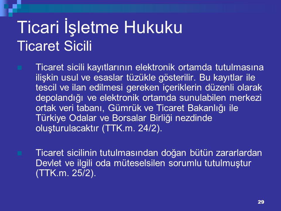 29 Ticari İşletme Hukuku Ticaret Sicili Ticaret sicili kayıtlarının elektronik ortamda tutulmasına ilişkin usul ve esaslar tüzükle gösterilir. Bu kayı