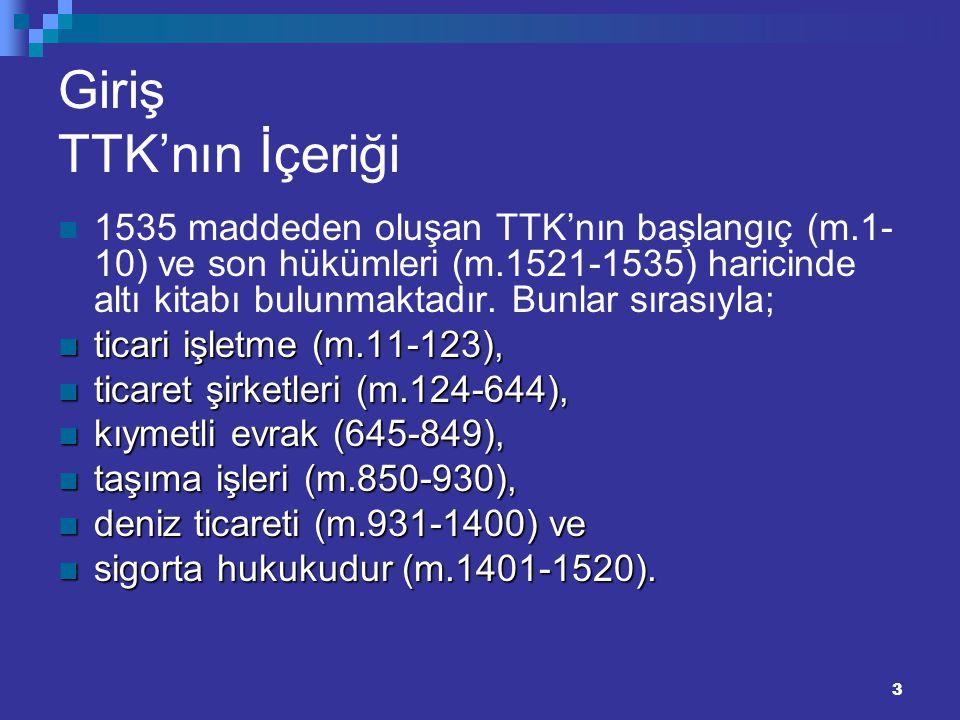 3 Giriş TTK'nın İçeriği 1535 maddeden oluşan TTK'nın başlangıç (m.1- 10) ve son hükümleri (m.1521-1535) haricinde altı kitabı bulunmaktadır. Bunlar sı
