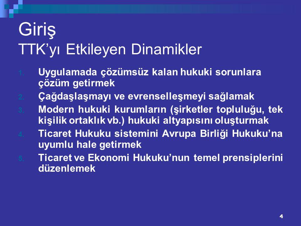 4 Giriş TTK'yı Etkileyen Dinamikler 1. Uygulamada çözümsüz kalan hukuki sorunlara çözüm getirmek 2. Çağdaşlaşmayı ve evrenselleşmeyi sağlamak 3. Moder