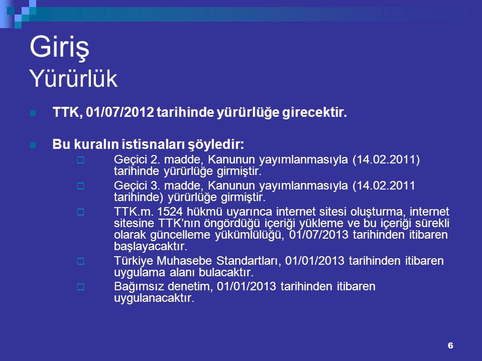 6 Giriş Yürürlük TTK, 01/07/2012 tarihinde yürürlüğe girecektir. Bu kuralın istisnaları şöyledir:  Geçici 2. madde, Kanunun yayımlanmasıyla (14.02.20