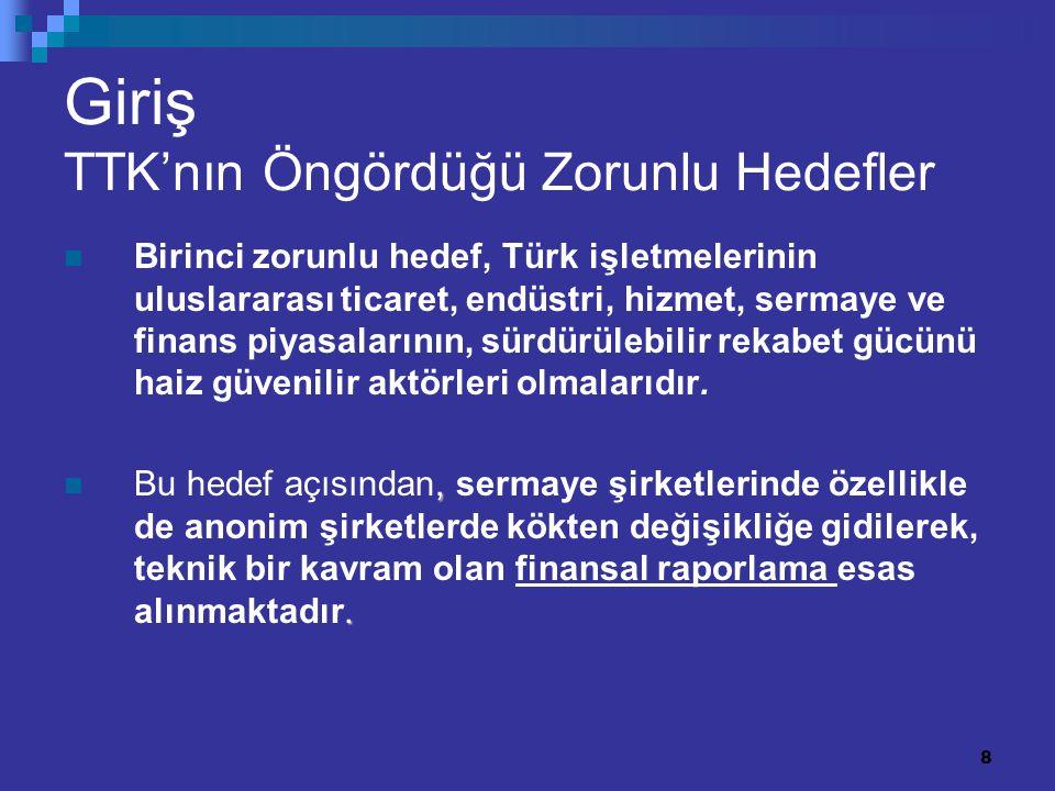 8 Giriş TTK'nın Öngördüğü Zorunlu Hedefler Birinci zorunlu hedef, Türk işletmelerinin uluslararası ticaret, endüstri, hizmet, sermaye ve finans piyasa