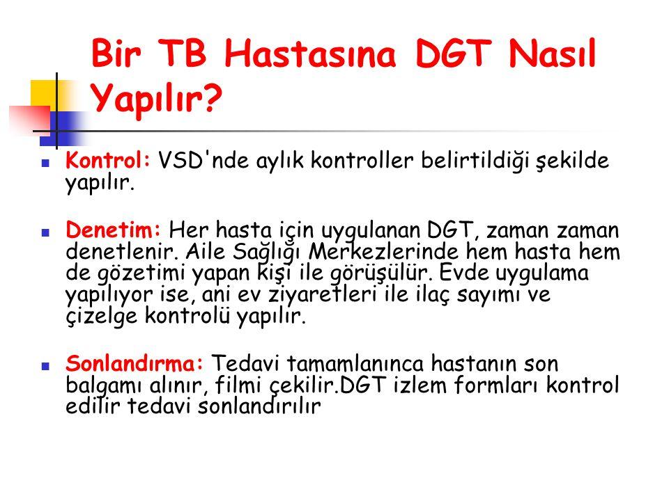 Kontrol: VSD'nde aylık kontroller belirtildiği şekilde yapılır. Denetim: Her hasta için uygulanan DGT, zaman zaman denetlenir. Aile Sağlığı Merkezleri