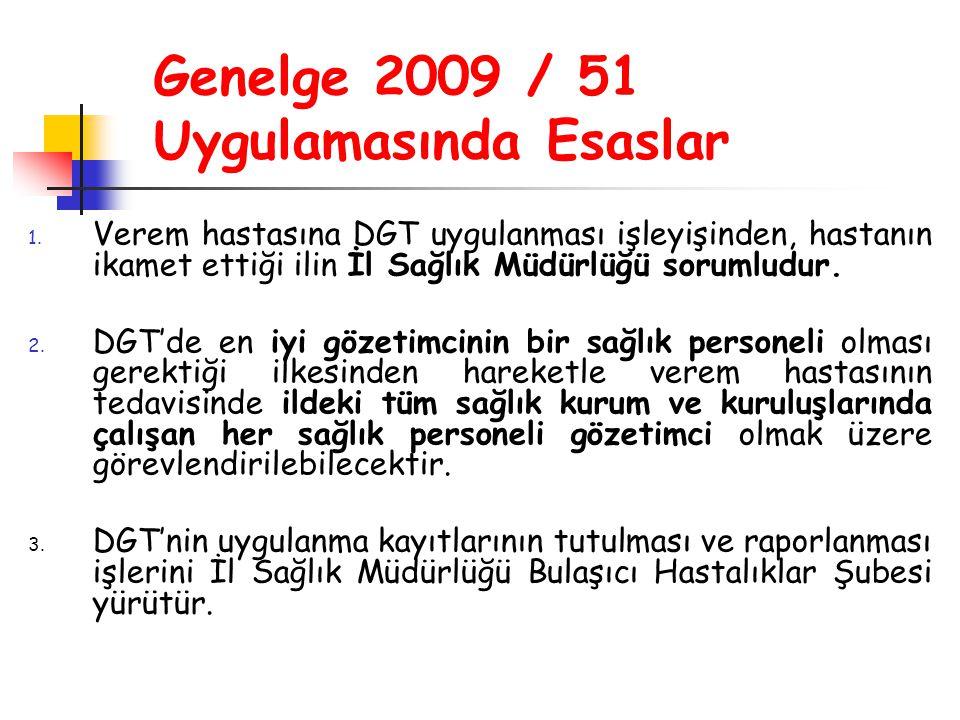 Genelge 2009 / 51 Uygulamasında Esaslar 1. Verem hastasına DGT uygulanması işleyişinden, hastanın ikamet ettiği ilin İl Sağlık Müdürlüğü sorumludur. 2