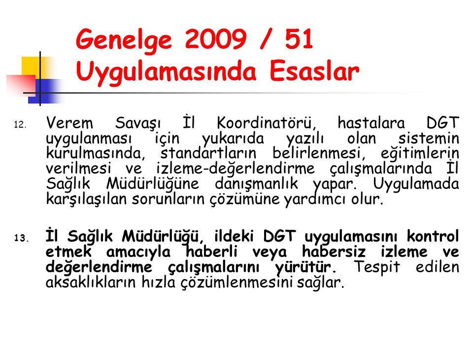 Genelge 2009 / 51 Uygulamasında Esaslar 12. Verem Savaşı İl Koordinatörü, hastalara DGT uygulanması için yukarıda yazılı olan sistemin kurulmasında, s