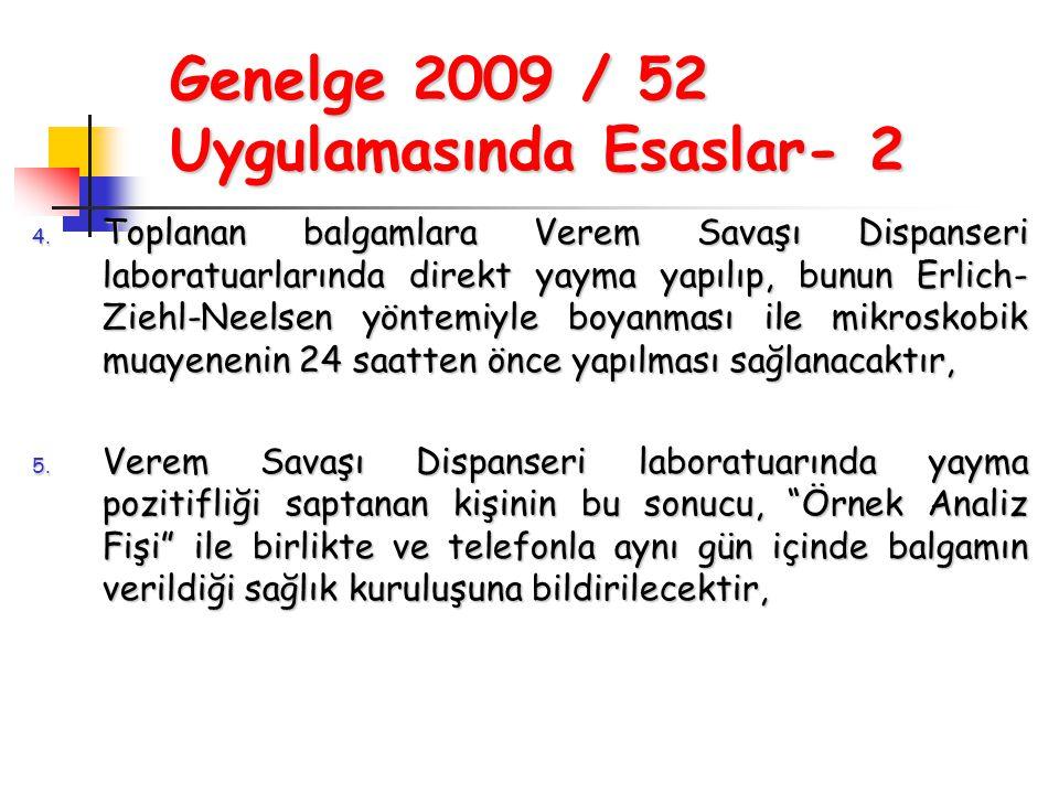Genelge 2009 / 52 Uygulamasında Esaslar- 2 4. Toplanan balgamlara Verem Savaşı Dispanseri laboratuarlarında direkt yayma yapılıp, bunun Erlich- Ziehl-