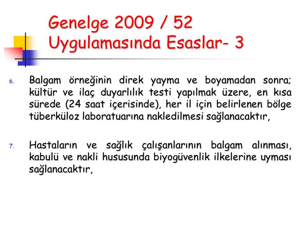 Genelge 2009 / 52 Uygulamasında Esaslar- 3 6. Balgam örneğinin direk yayma ve boyamadan sonra; kültür ve ilaç duyarlılık testi yapılmak üzere, en kısa