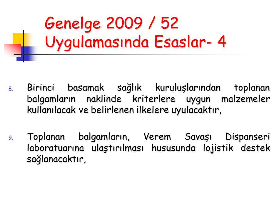Genelge 2009 / 52 Uygulamasında Esaslar- 4 8. Birinci basamak sağlık kuruluşlarından toplanan balgamların naklinde kriterlere uygun malzemeler kullanı