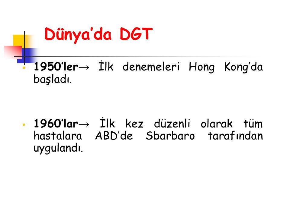 Dünya'da DGT  1950'ler → İlk denemeleri Hong Kong'da başladı.  1960'lar → İlk kez düzenli olarak tüm hastalara ABD'de Sbarbaro tarafından uygulandı.