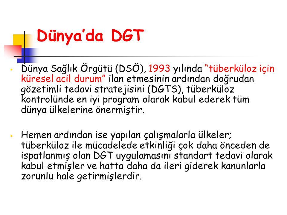 """ Dünya Sağlık Örgütü (DSÖ), 1993 yılında """"tüberküloz için küresel acil durum"""" ilan etmesinin ardından doğrudan gözetimli tedavi stratejisini (DGTS),"""