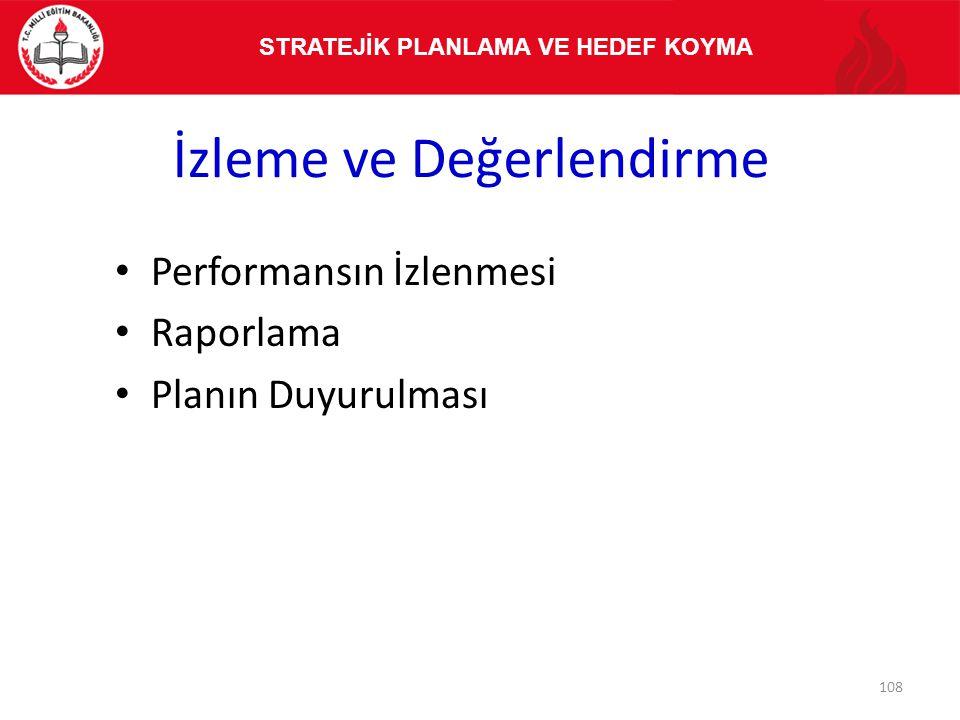 İzleme ve Değerlendirme Performansın İzlenmesi Raporlama Planın Duyurulması STRATEJİK PLANLAMA VE HEDEF KOYMA 108