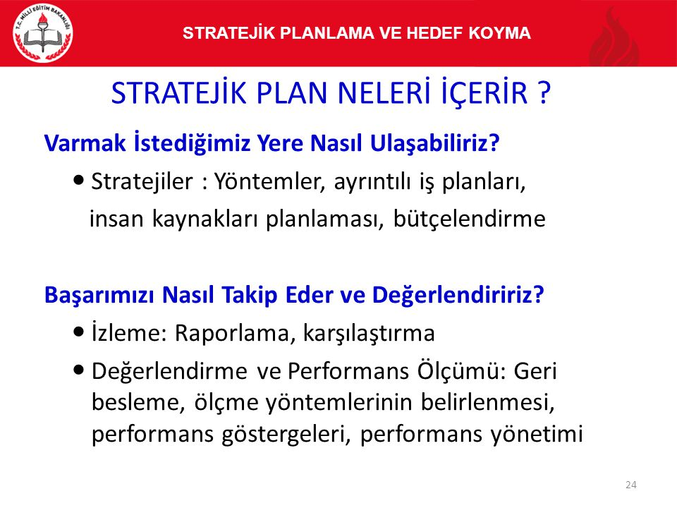 Varmak İstediğimiz Yere Nasıl Ulaşabiliriz? Stratejiler : Yöntemler, ayrıntılı iş planları, insan kaynakları planlaması, bütçelendirme Başarımızı Nası