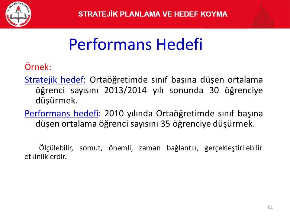 Performans Hedefi Örnek: Stratejik hedef: Ortaöğretimde sınıf başına düşen ortalama öğrenci sayısını 2013/2014 yılı sonunda 30 öğrenciye düşürmek. Per