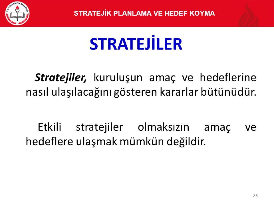STRATEJİLER Stratejiler, kuruluşun amaç ve hedeflerine nasıl ulaşılacağını gösteren kararlar bütünüdür. Etkili stratejiler olmaksızın amaç ve hedefler