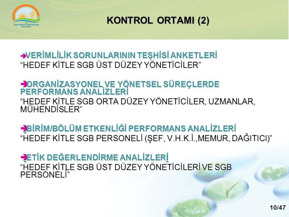 """KONTROL ORTAMI (2)  VERİMLİLİK SORUNLARININ TEŞHİSİ ANKETLERİ """"HEDEF KİTLE SGB ÜST DÜZEY YÖNETİCİLER""""  ORGANİZASYONEL VE YÖNETSEL SÜREÇLERDE PERFORM"""