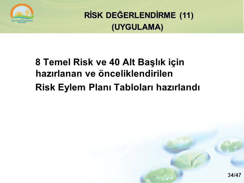 8 Temel Risk ve 40 Alt Başlık için hazırlanan ve önceliklendirilen Risk Eylem Planı Tabloları hazırlandı RİSK DEĞERLENDİRME (11) (UYGULAMA) 34/47